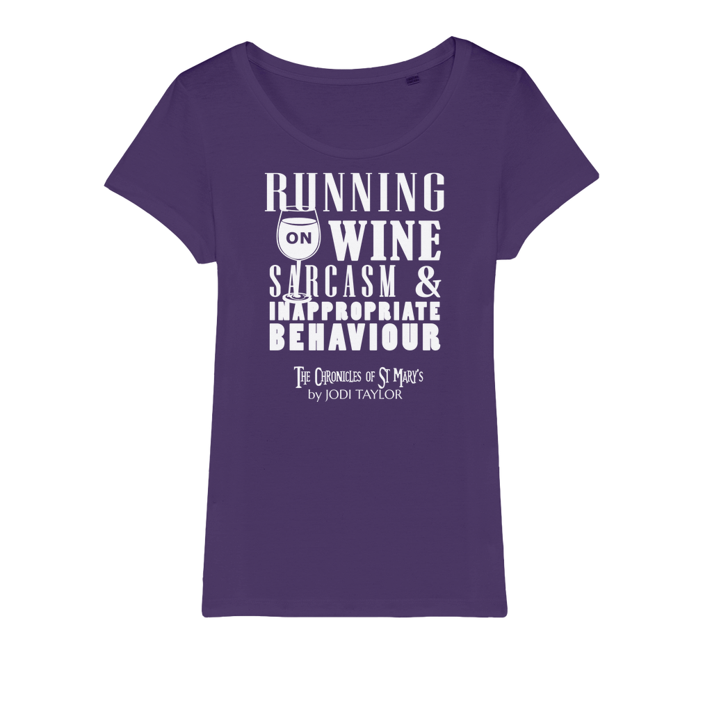 Running on Wine, Sarcasm and Inappropriate Behavior (UK) Organic Jersey Womens T-Shirt - Jodi Taylor