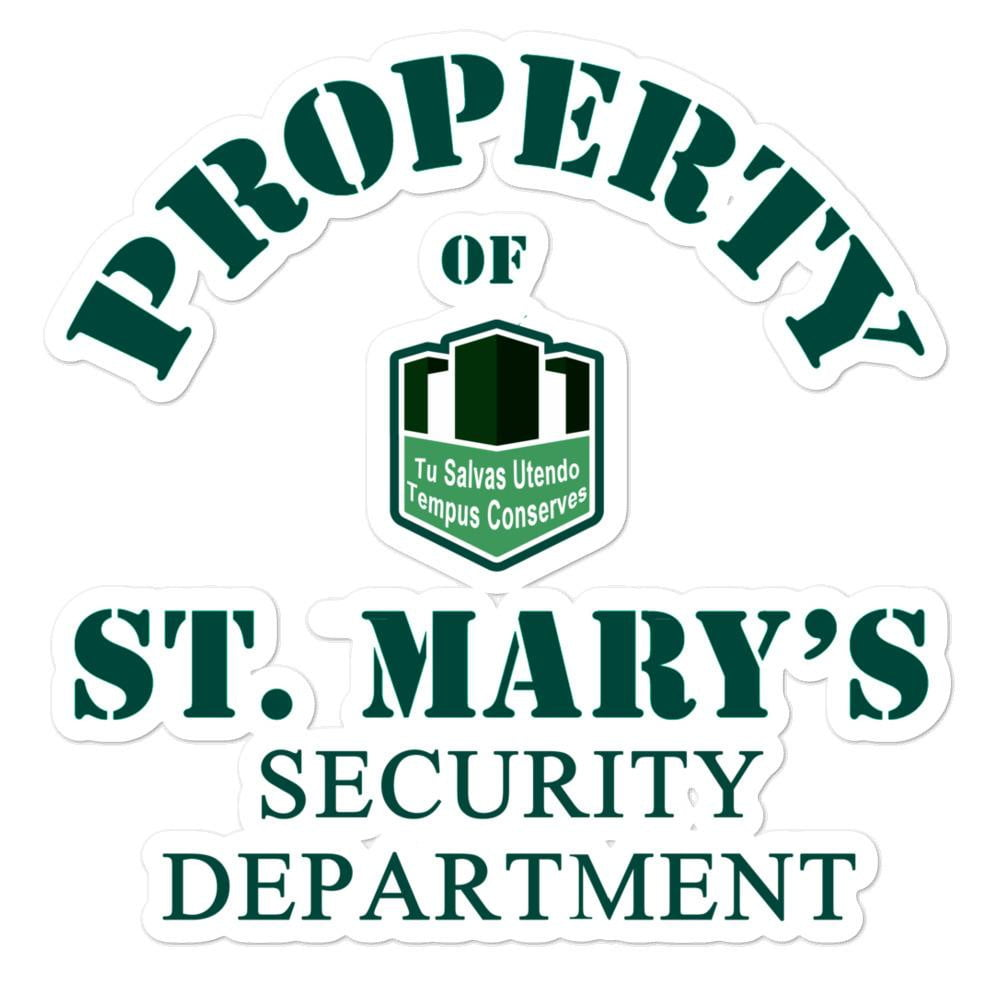Property of St Mary's Security Department Bubble-free stickers - Jodi Taylor
