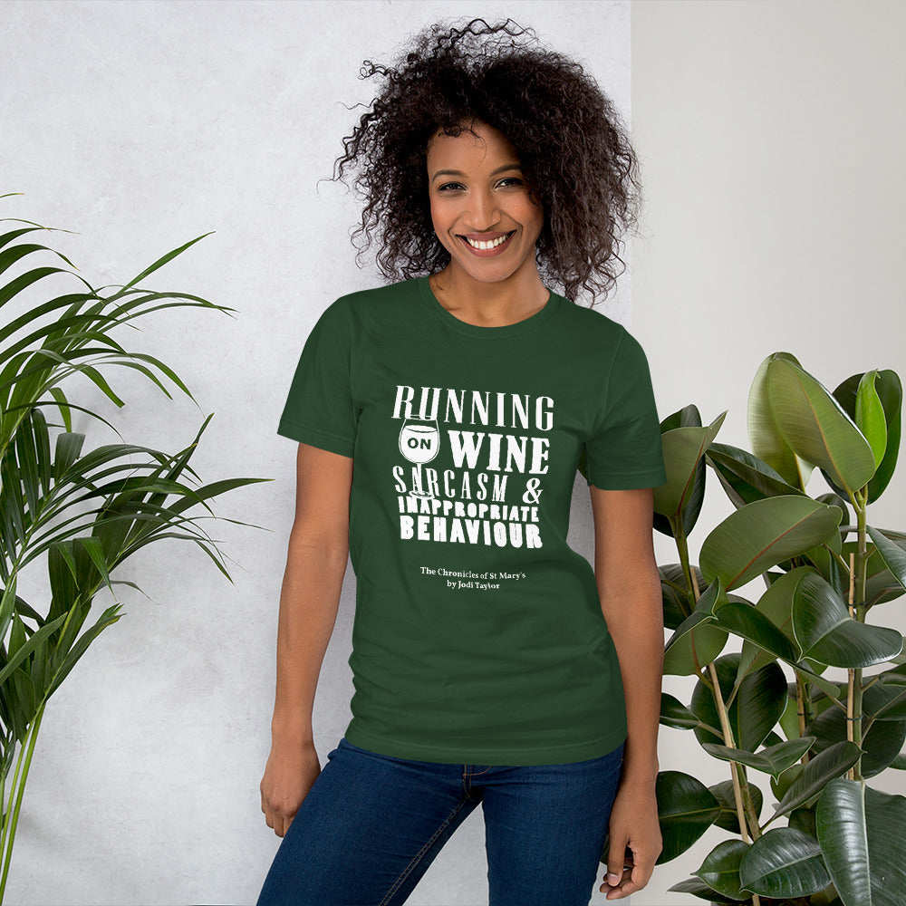 Running on Wine Sarcasm and Inappropriate Behaviour Short-Sleeve Unisex T-Shirt - Jodi Taylor