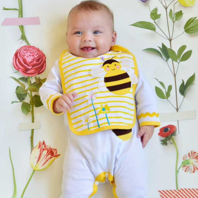 bumble bee appliqued bib by powell craft