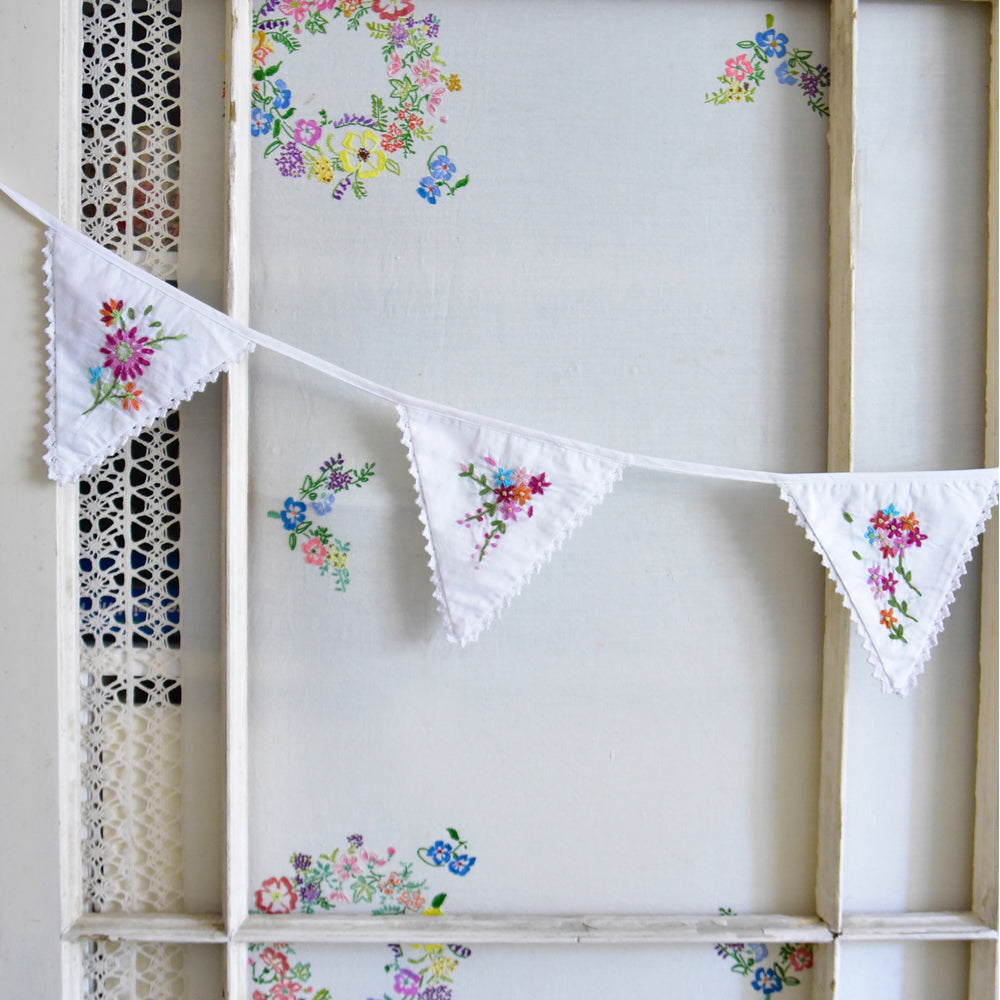 Hand Embroidered Floral Bunting