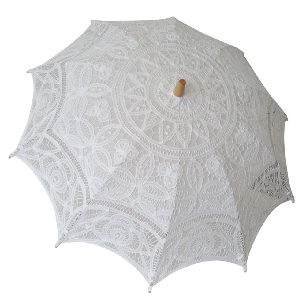 Ladies White Lace Battenburg Parasol