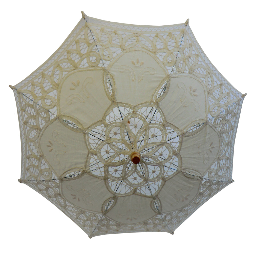 Girl's Cream Lace Battenburg Parasol