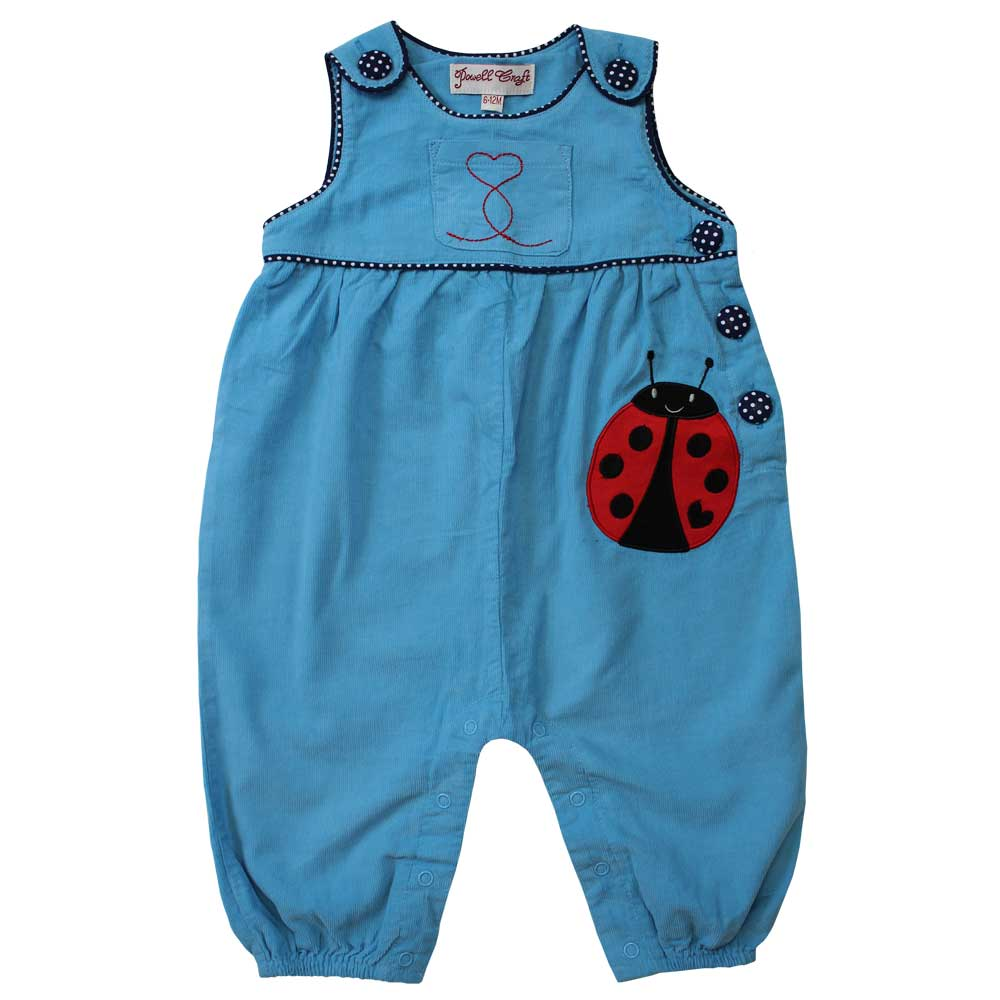 Sky blue cord toddler dungarees with ladybird by powell craft
