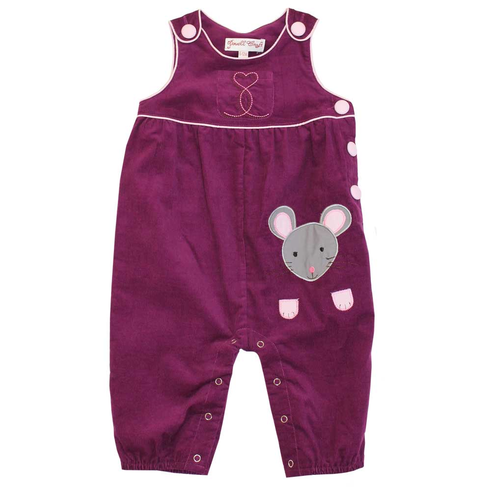 purple cord mouse toddler dungarees by powell craft