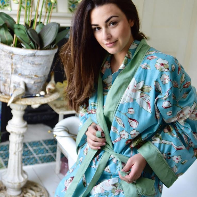 Blue Blossom Ladies Dressing Gown