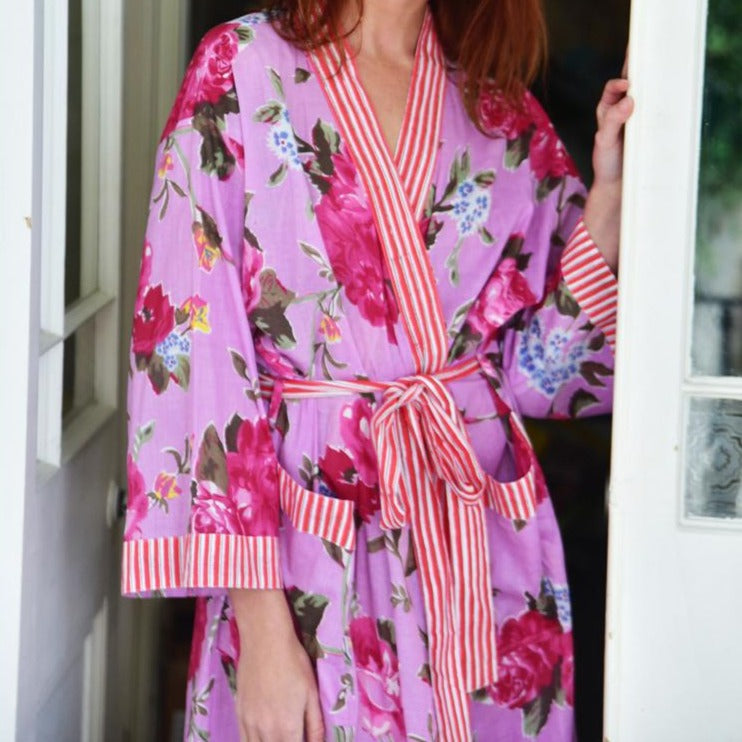 Ladies Lilac Rose Floral Dressing Gown