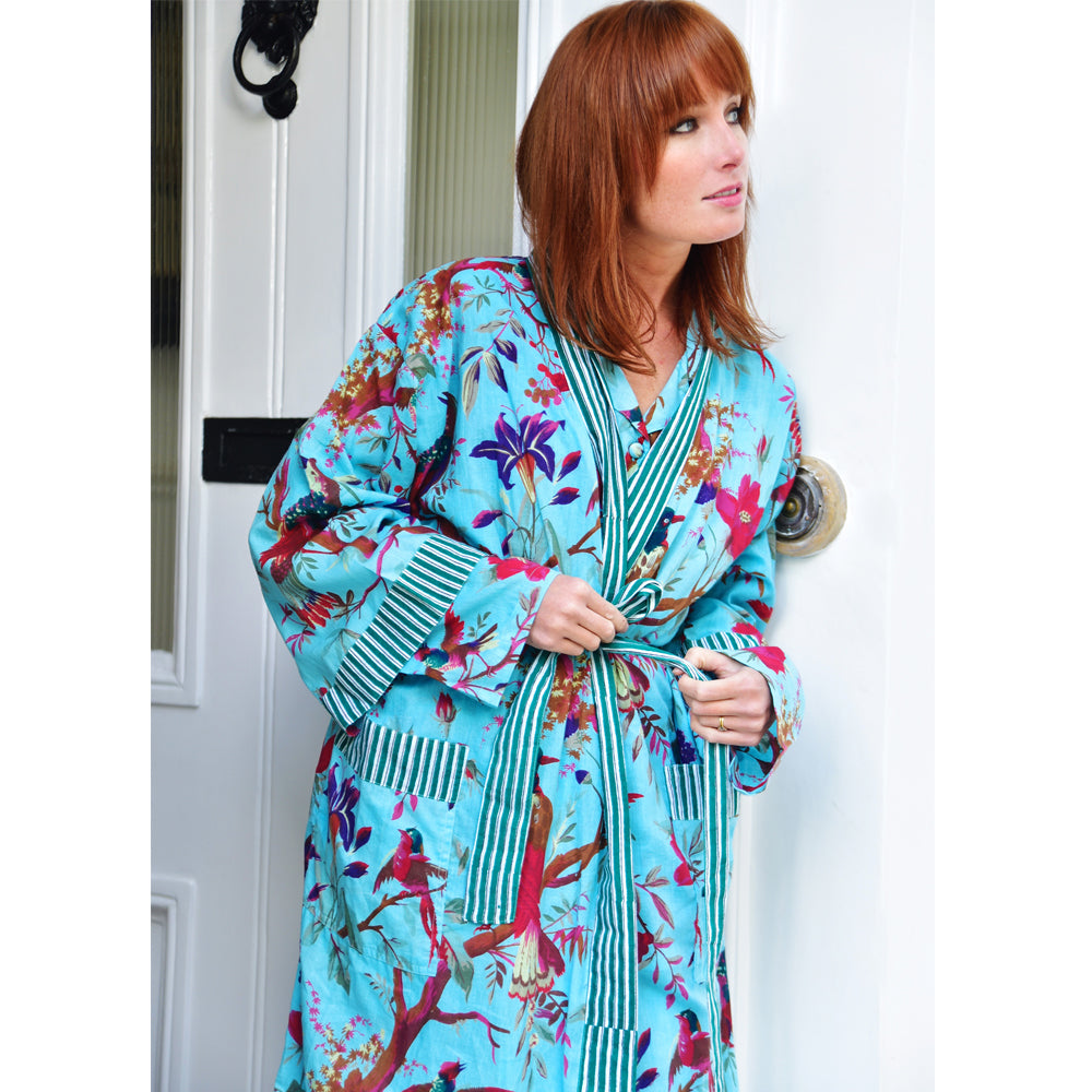 Ladies Turquoise Bird Dressing Gown