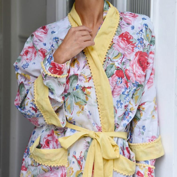 Floral Lemon Pom Pom Ladies Dressing Gown