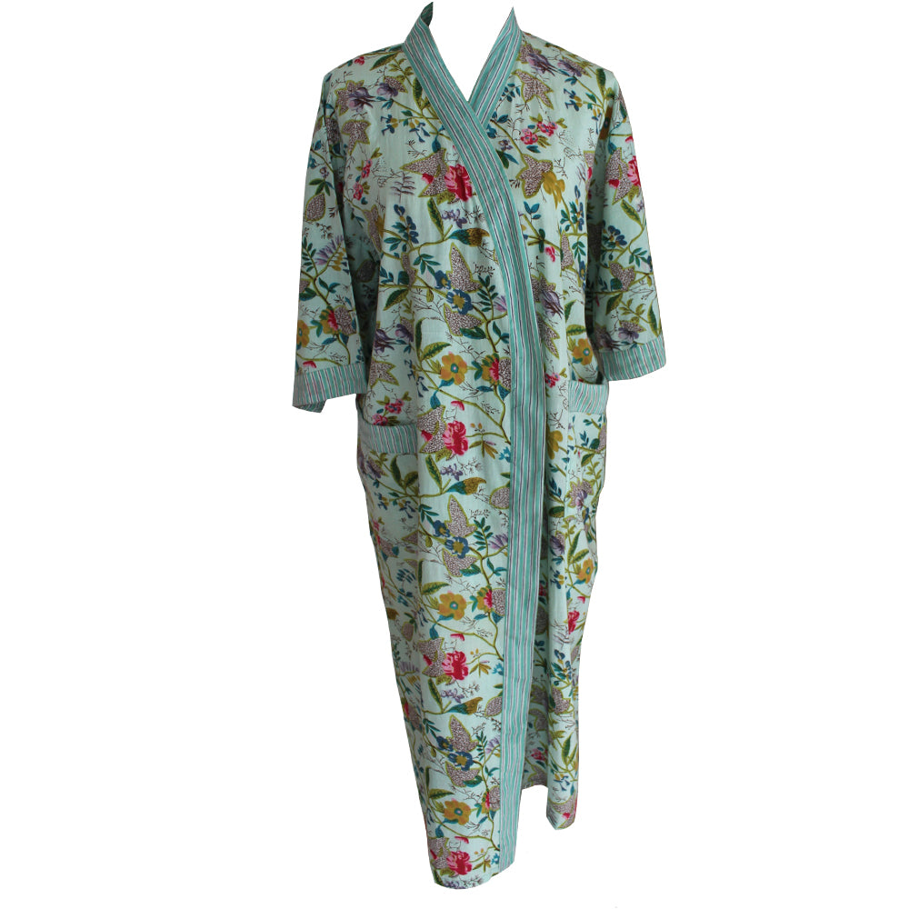 Ladies Mint Floral Dressing Gown
