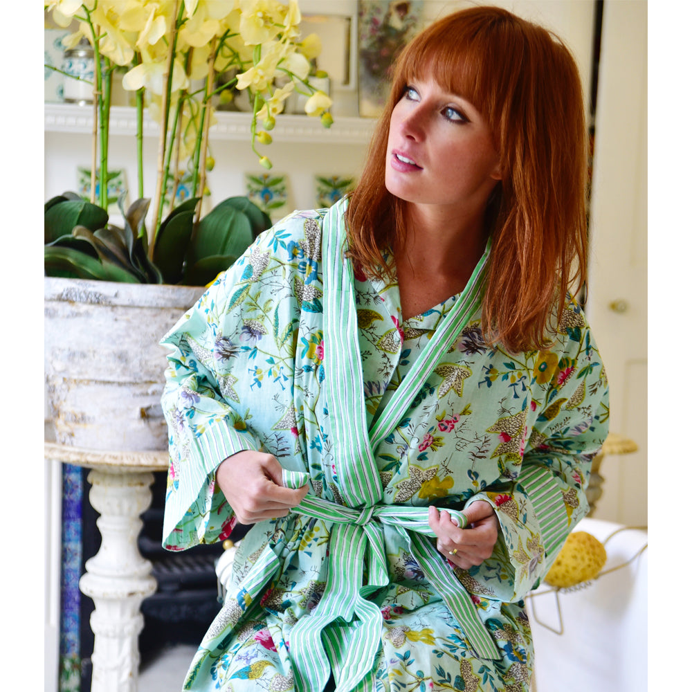 7a3738776d8 Ladies Mint Floral Dressing Gown – Powell Craft