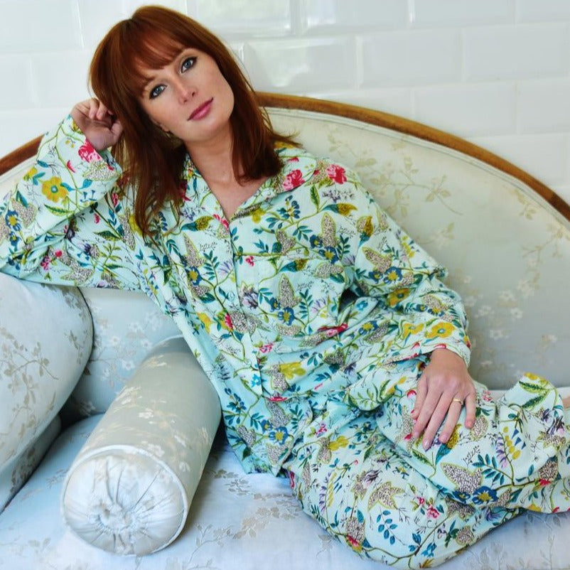 Ladies Mint Floral Pyjamas