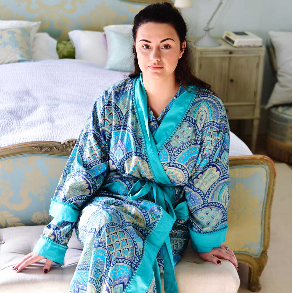 Ladies Blue Paisley Dressing Gown