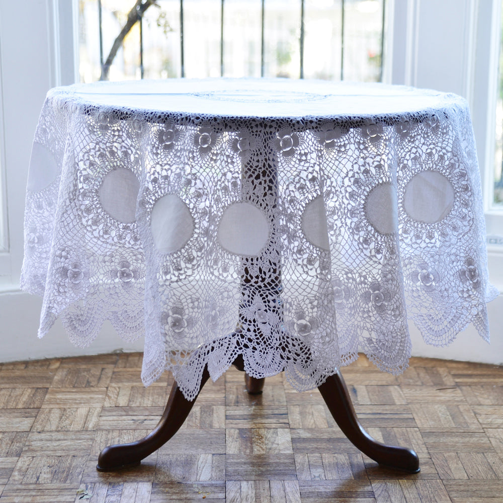 Round Crochet Lace Tablecloth