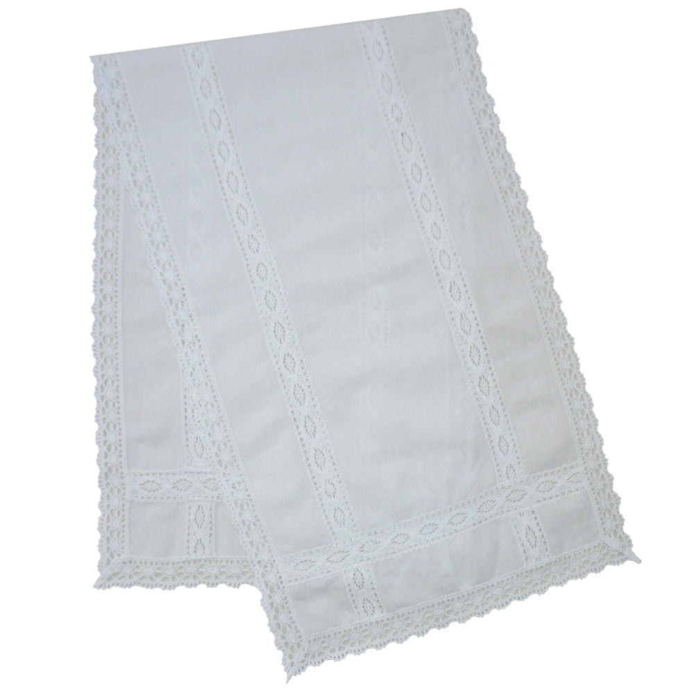White Table Runner with Lace Trims