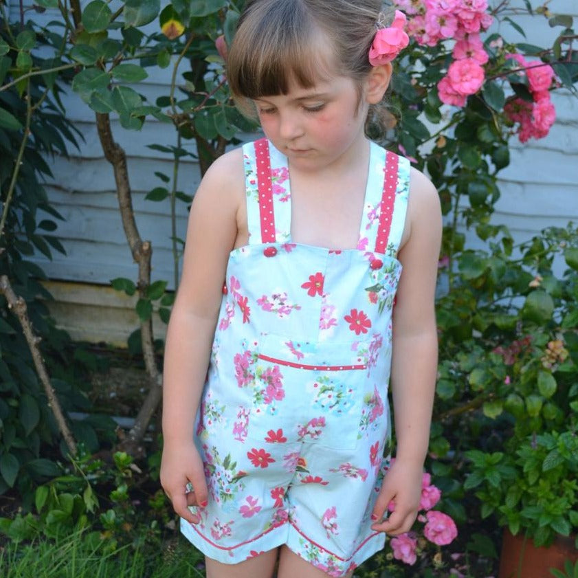 Blue Floral Dungarees