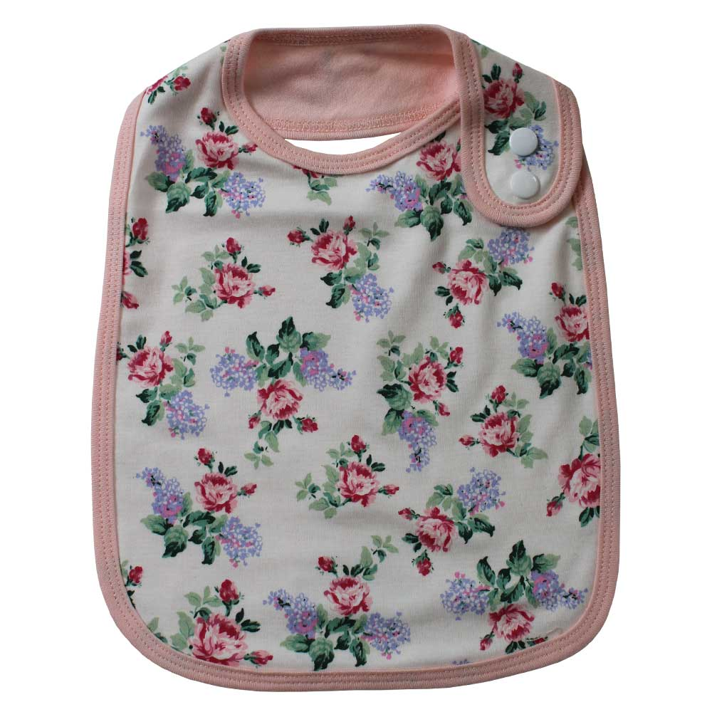 rose floral print baby bib by powell craft