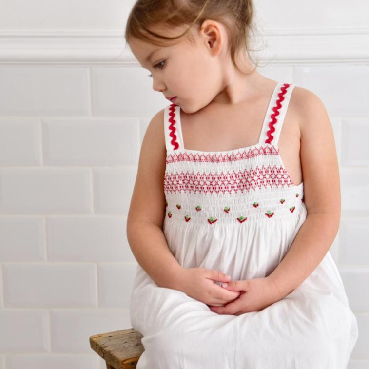 Smocked Strapped Dress with Red Detail