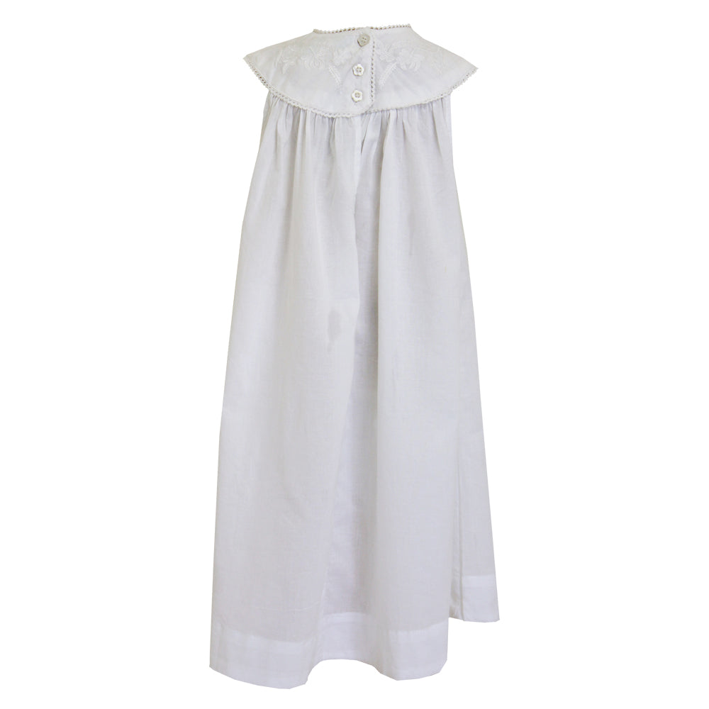 girl's white sleeveless embroidered dress from powell craft