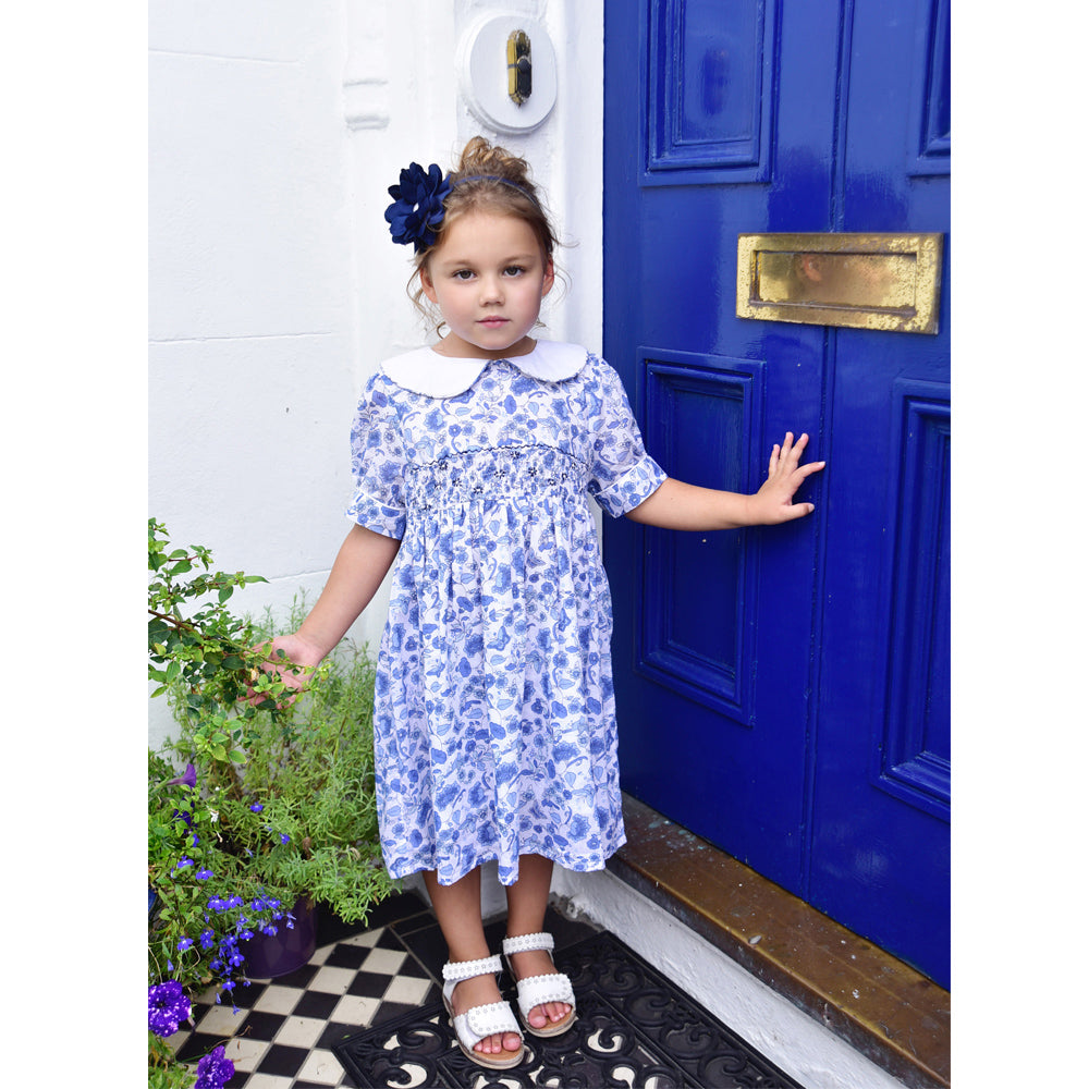Blue & White Floral Smock Dress