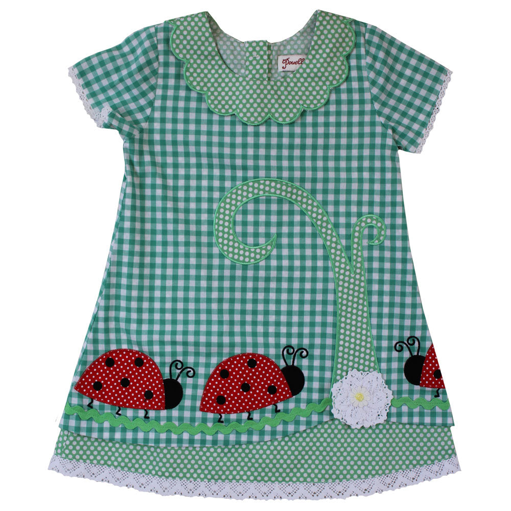 Green Check Ladybird dress