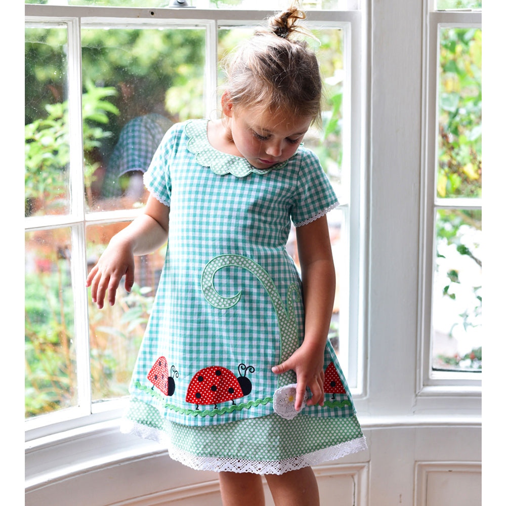 Green Checked Ladybird dress