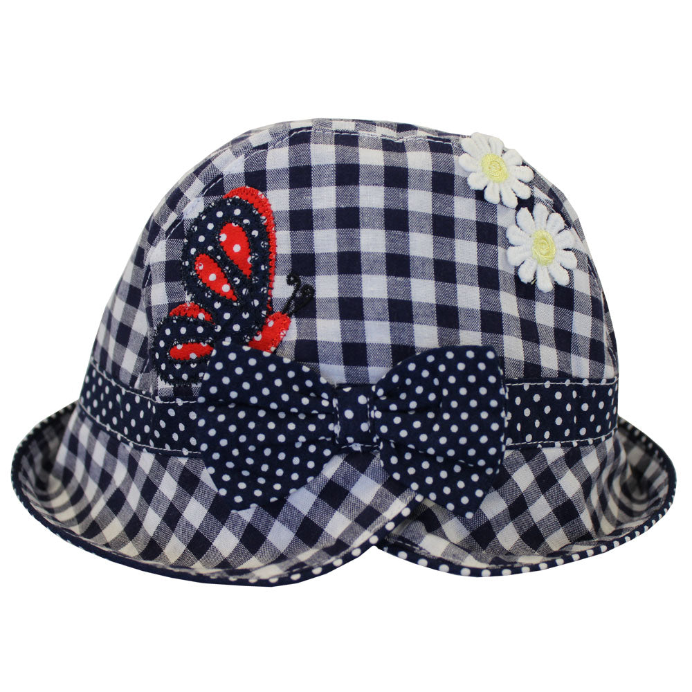 Blue Checked Butterfly Hat