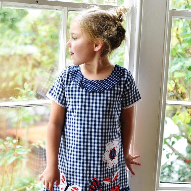 Blue Checked Butterfly Dress