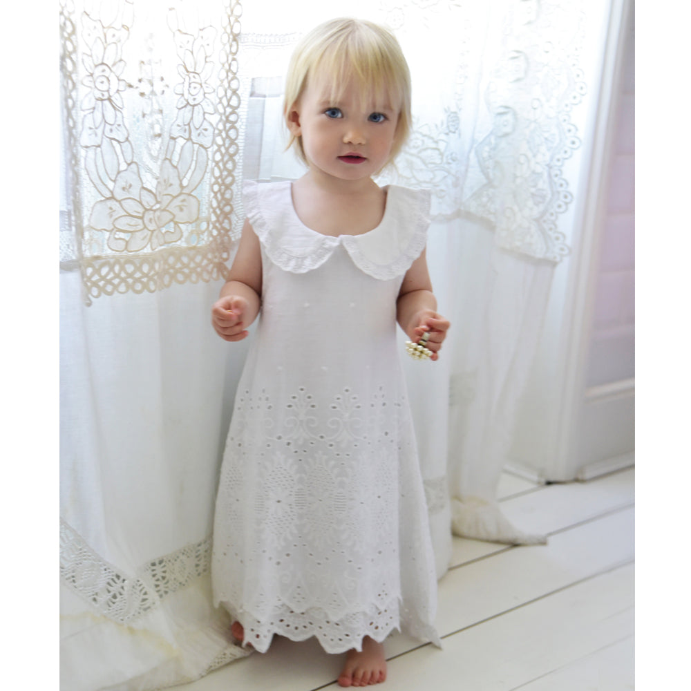 White Lace Embroidered Sleeveless Girls Dress