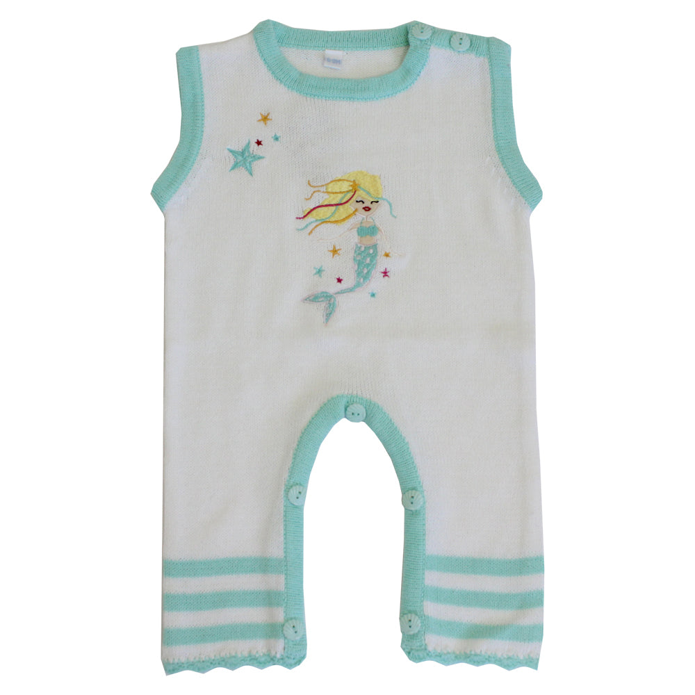 mermaid motiff knitted sleeveless baby jumpsuit by powell craft