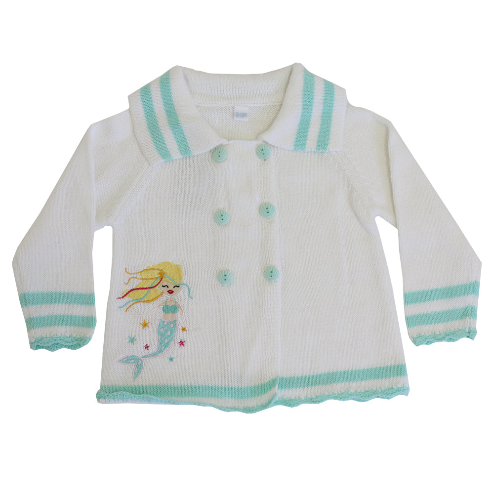 knitted pram coat with mermaid applique by powell craft
