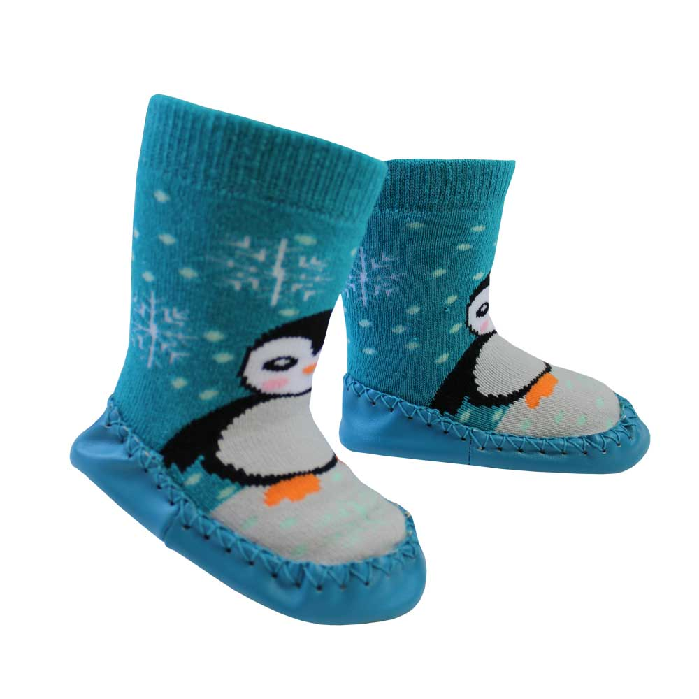 penguin themed moccasin slippers from powell craft