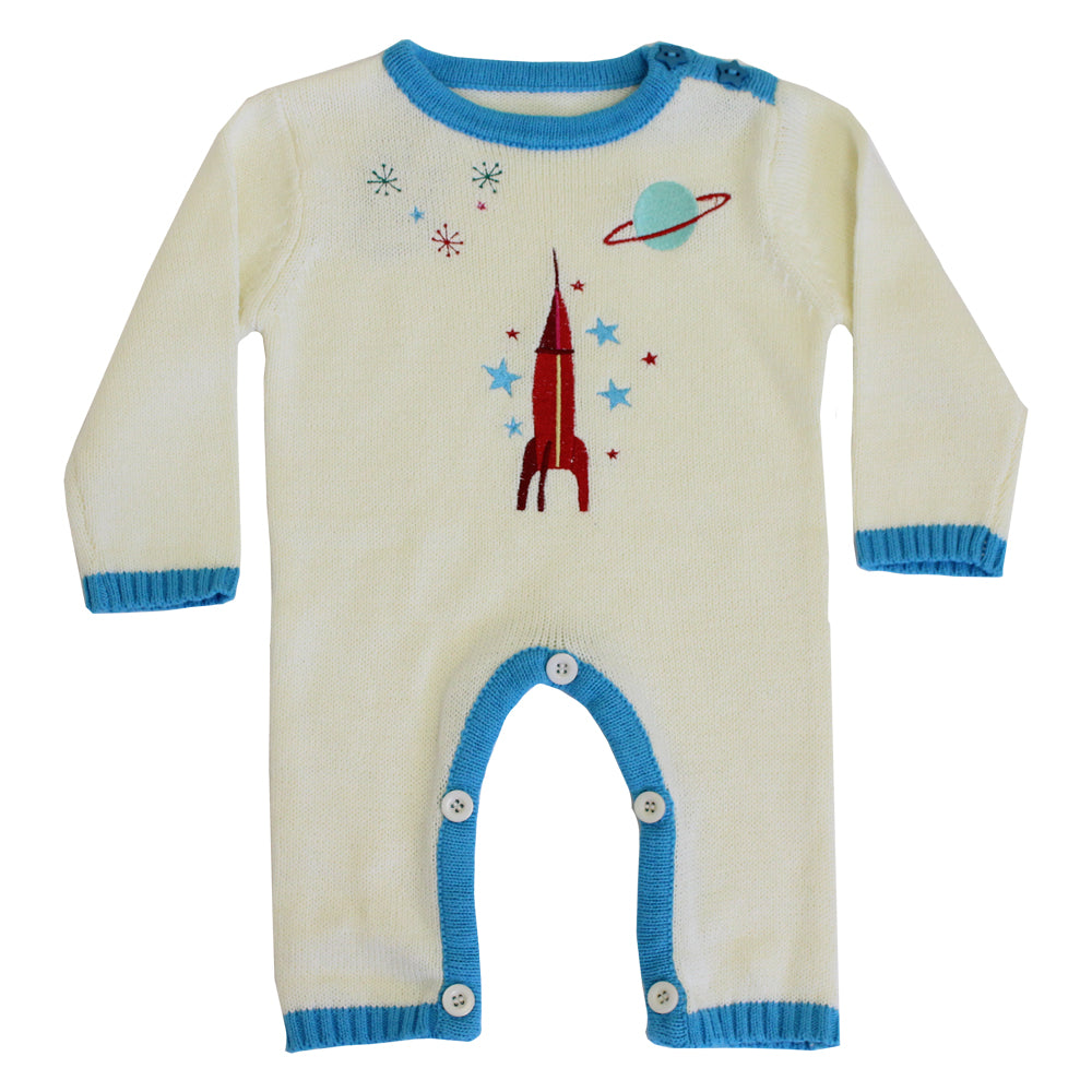 rocket and space themed knitted baby jumpsuit from powell craft