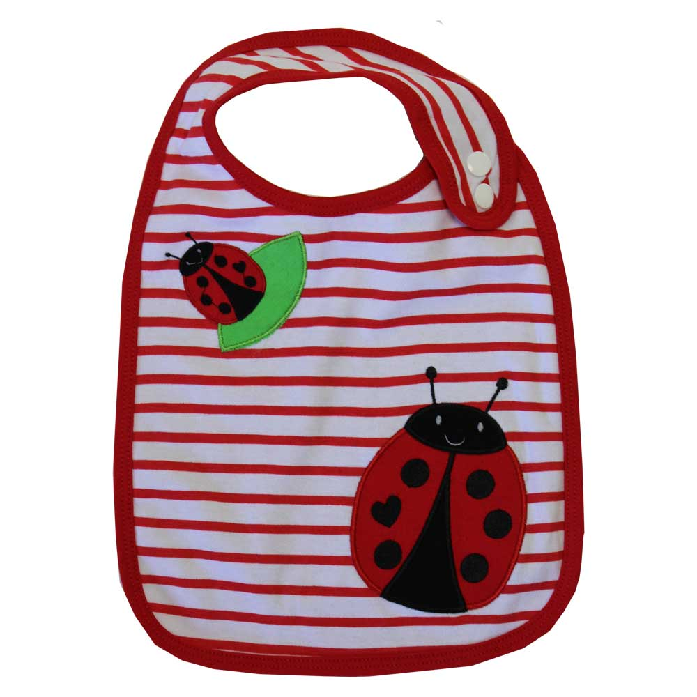 ladybird appliqued striped cotton bib by powell craft