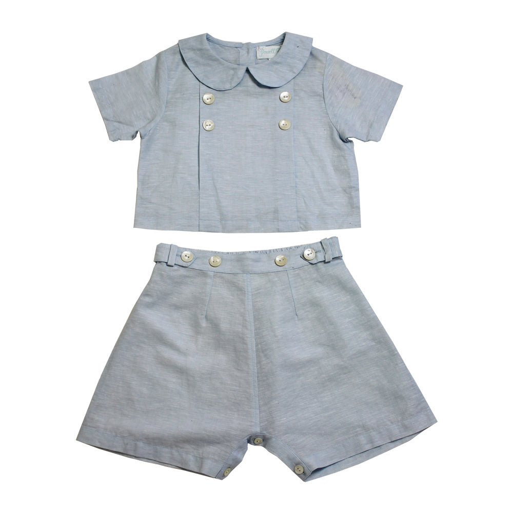 Sky Blue Linen Shirt + Shorts Set