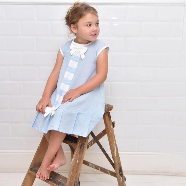 Blue Linen Sleeveless Dress with Ribbon Front