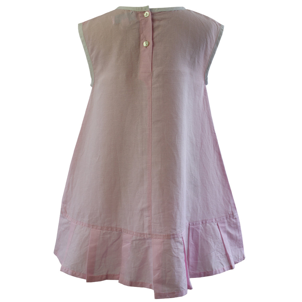 Pink Linen Sleeveless Dress with Ribbon Front