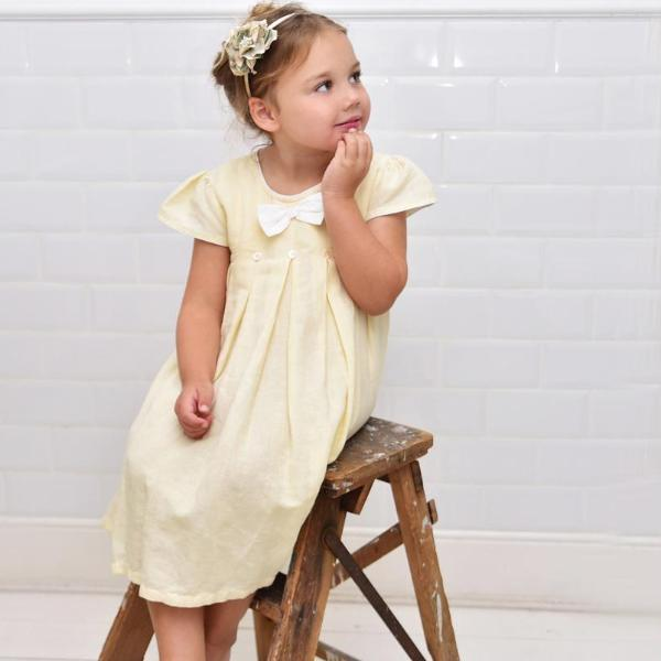 Lemon Linen Capped Sleeve Dress