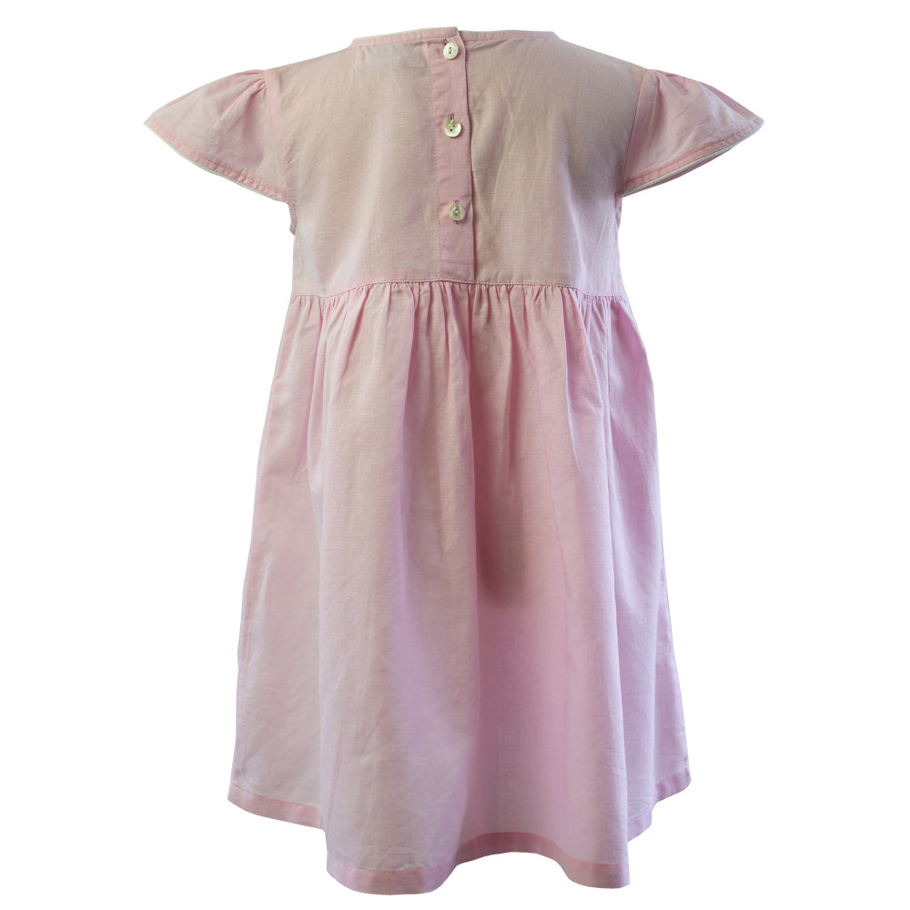 Pink Linen Capped Sleeve Dress