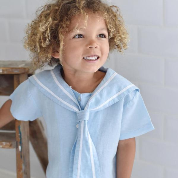 Blue Linen Sailor Top + Shorts Set