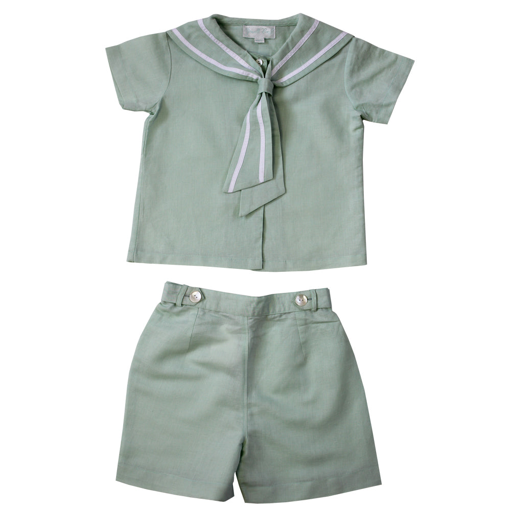Mint Linen Sailor Top + Shorts Set
