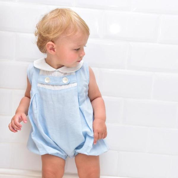 Blue Linen Romper with White Trims