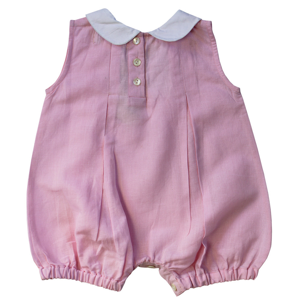 Powder Pink Linen Romper with White Trims