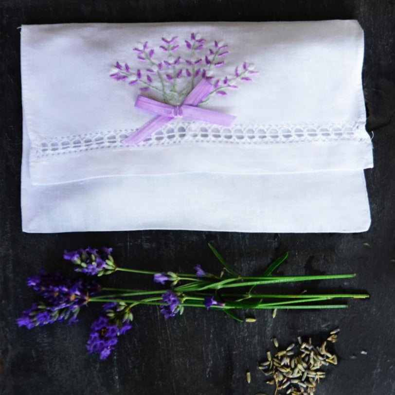 Embroidered Lavender Envelope