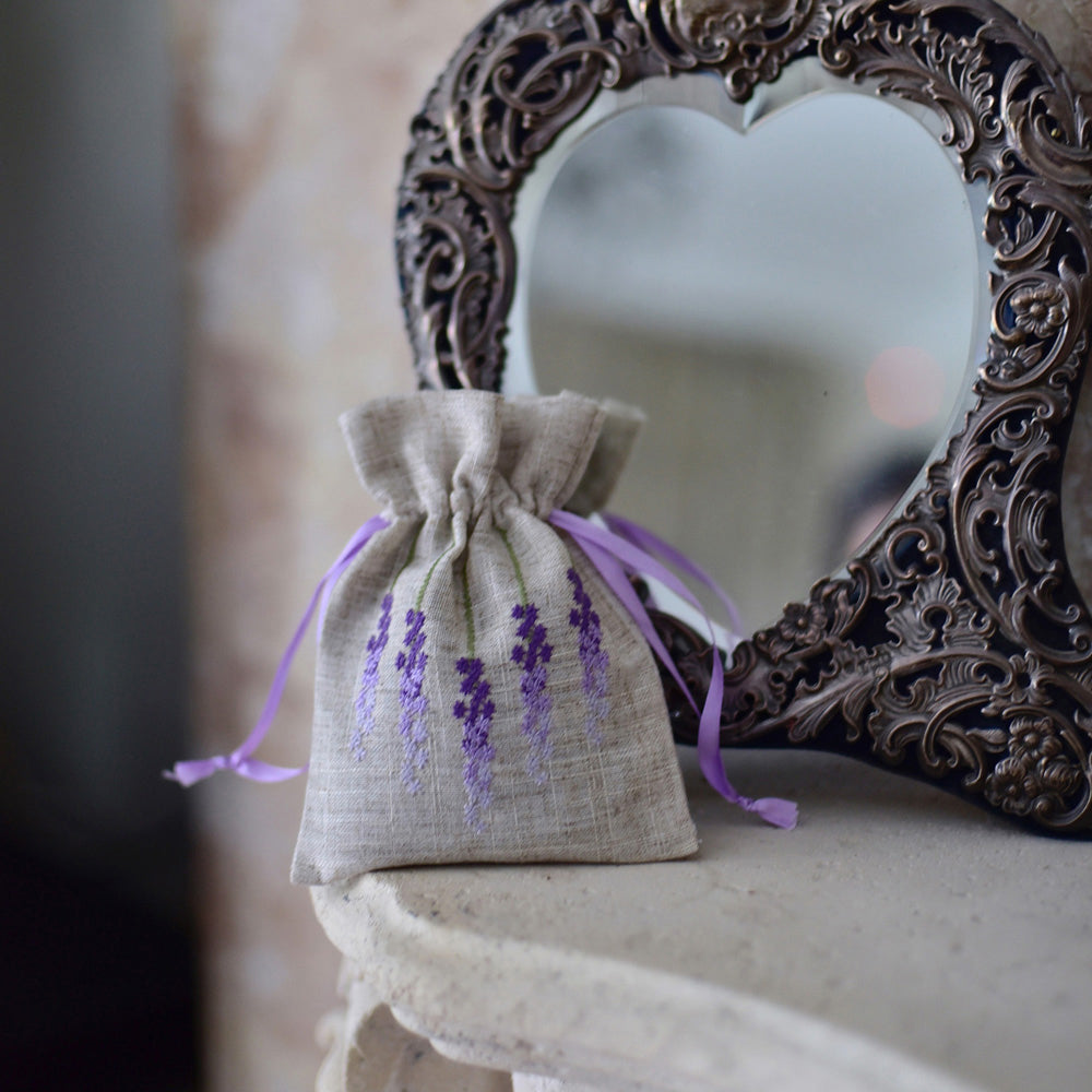 Pack of 3 Raw Linen Lavender Sachet with Lavender Embroidery