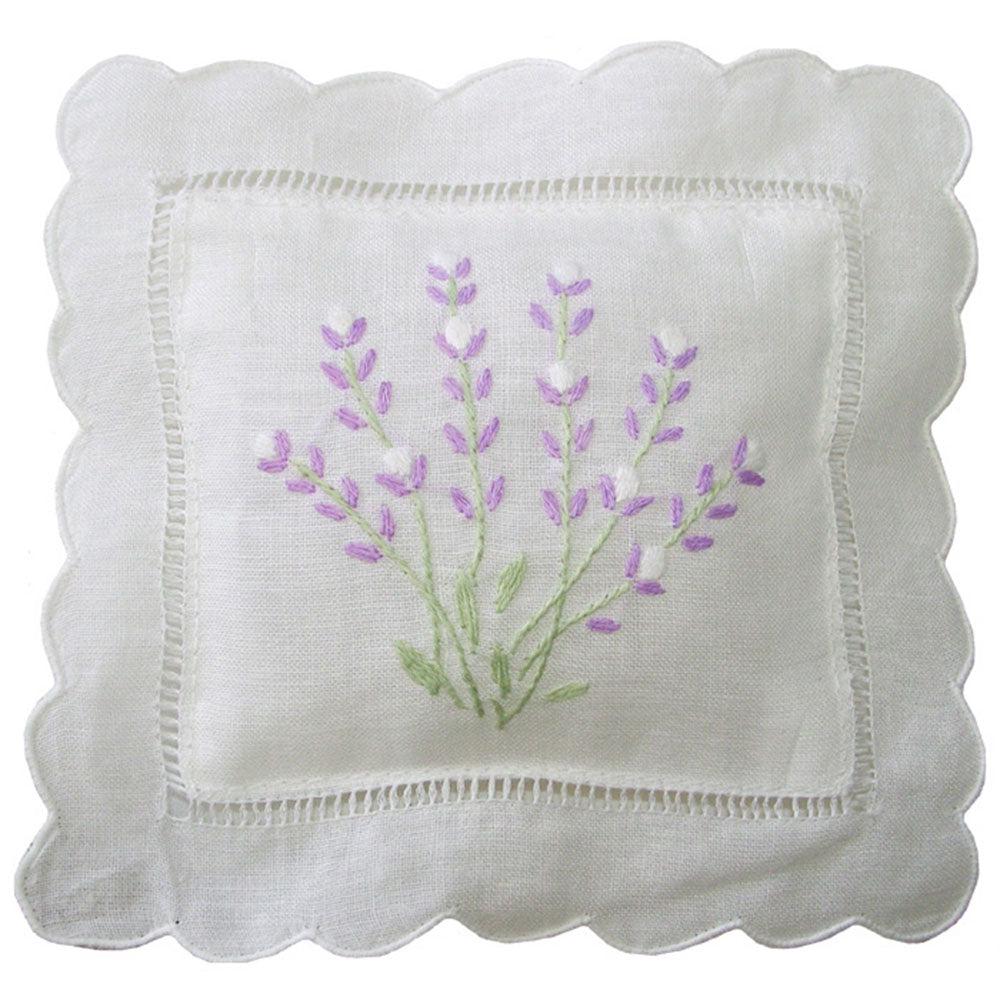 Embroidered Lavender Pillow