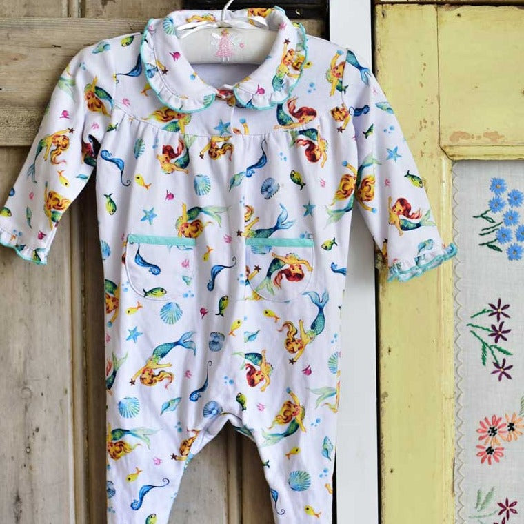 mermaid print baby jumpsuit by powell craft