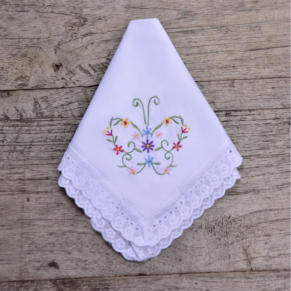 Pack of 3 Butterfly Embroidered Hankies