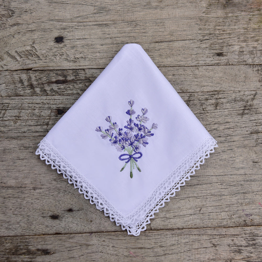 Pack of 3 Lavender Embroidered Hankies