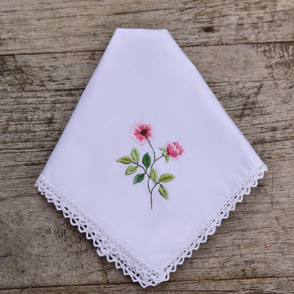 Pack of 3 Rose Embroidered Hankies